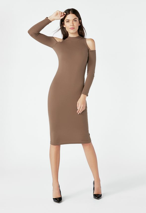 e5d72c976756 Cold Shoulder Rib Sweater Dress in chocolate chip - Get great deals at  JustFab