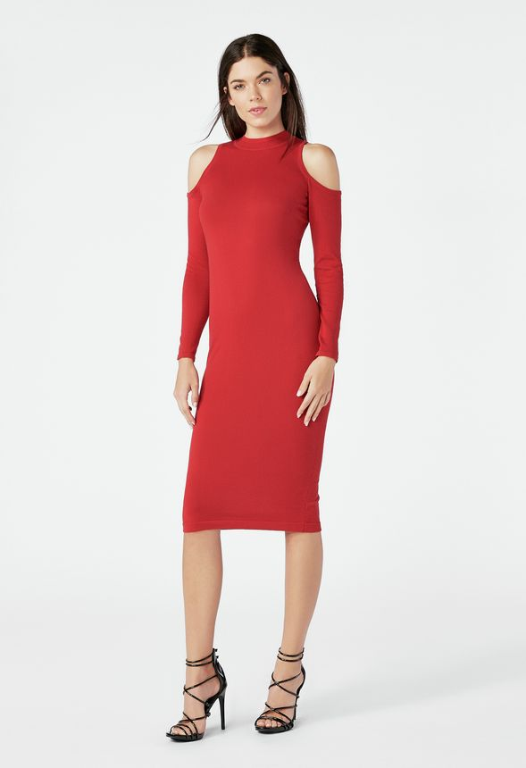 02fa2448476 Cold Shoulder Rib Sweater Dress in SCARLET SAGE - Get great deals at JustFab