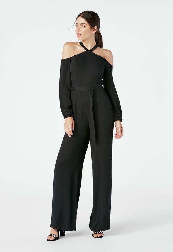 Cold Shoulder Halter Jumpsuit in Black - Get great deals at JustFab 5a13c3218