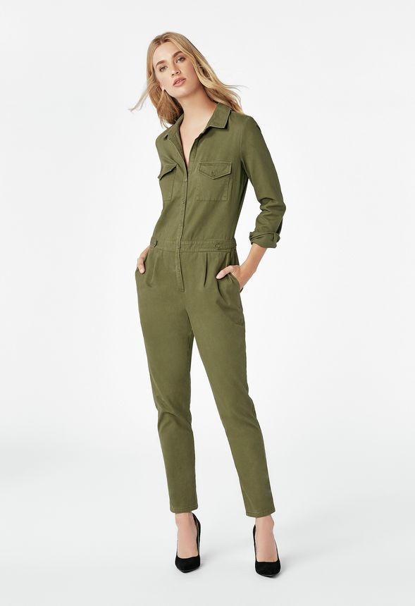63c0328e392 Utility Jumpsuit in dark olive - Get great deals at JustFab