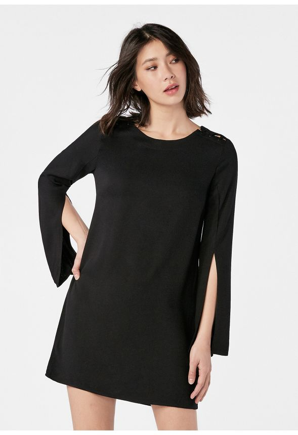 a80ec4765c8 Slit Sleeve Dress in Black - Get great deals at JustFab