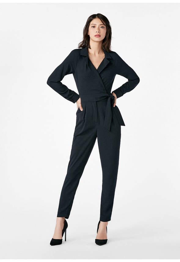 48b94780ecc0 Belted Jumpsuit in Black - Get great deals at JustFab