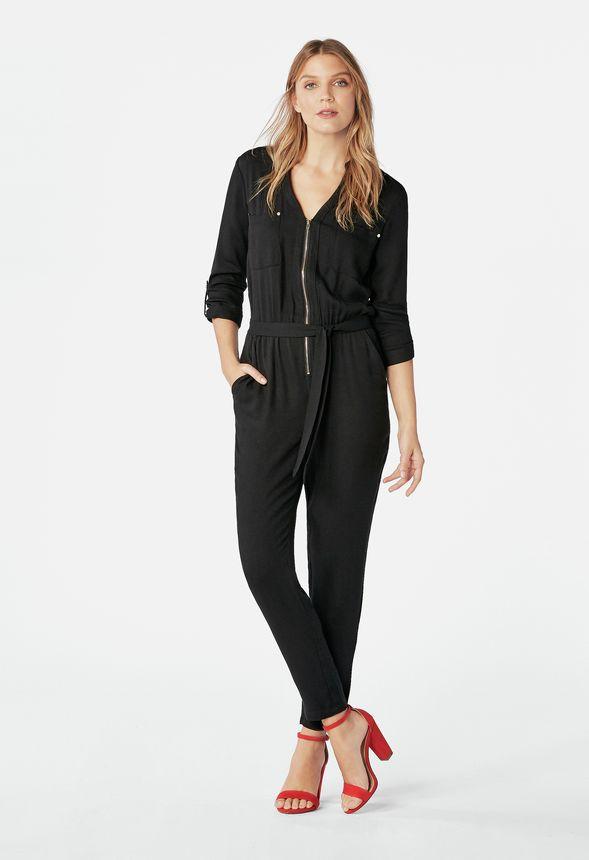 fb250ded7123 Zipper Jumpsuit in Black - Get great deals at JustFab