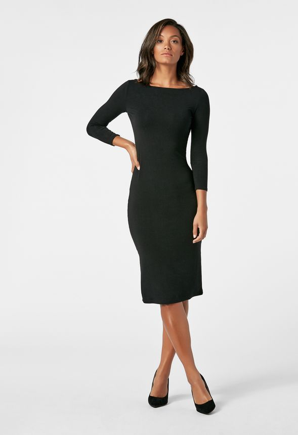 34 Sleeve Knit Dress In Black Get Great Deals At Justfab