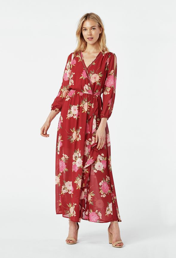 b6b72a6864bff Ruffle Front Maxi Dress in chili pepper multi - Get great deals at JustFab