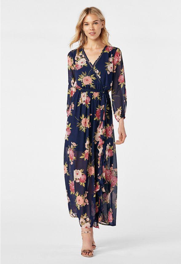 4258b804df4f62 Ruffle Front Maxi Dress in dark indigo multi - Get great deals at JustFab