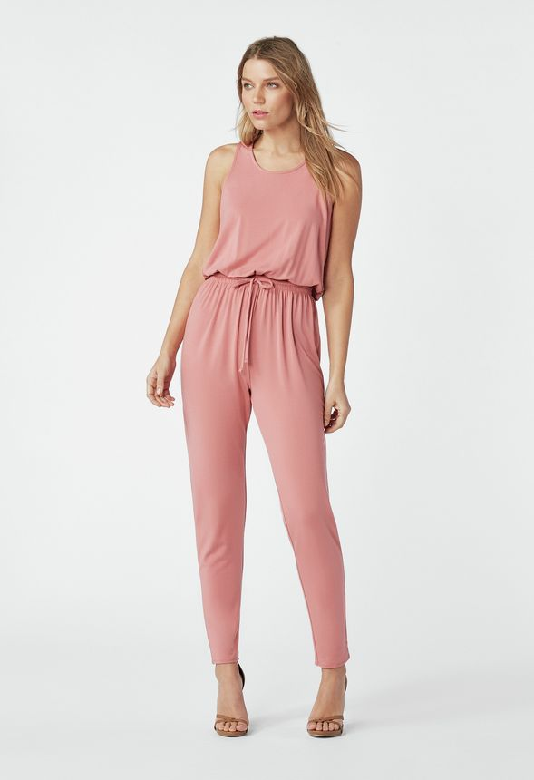 79682f95e000 Drawstring Tank Jumpsuit in PINK MAUVE - Get great deals at JustFab