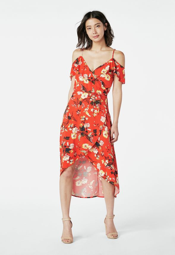 1140dbdc639 Cold Shoulder Wrap Dress in fiery red multi - Get great deals at JustFab
