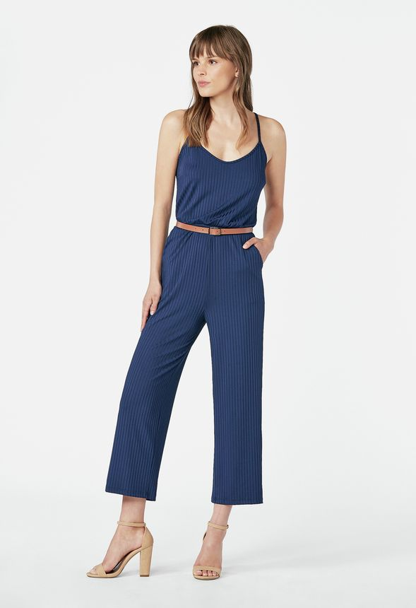 d02b3d44a56376 Belted Rib Knit Jumpsuit in INDIGO - Get great deals at JustFab