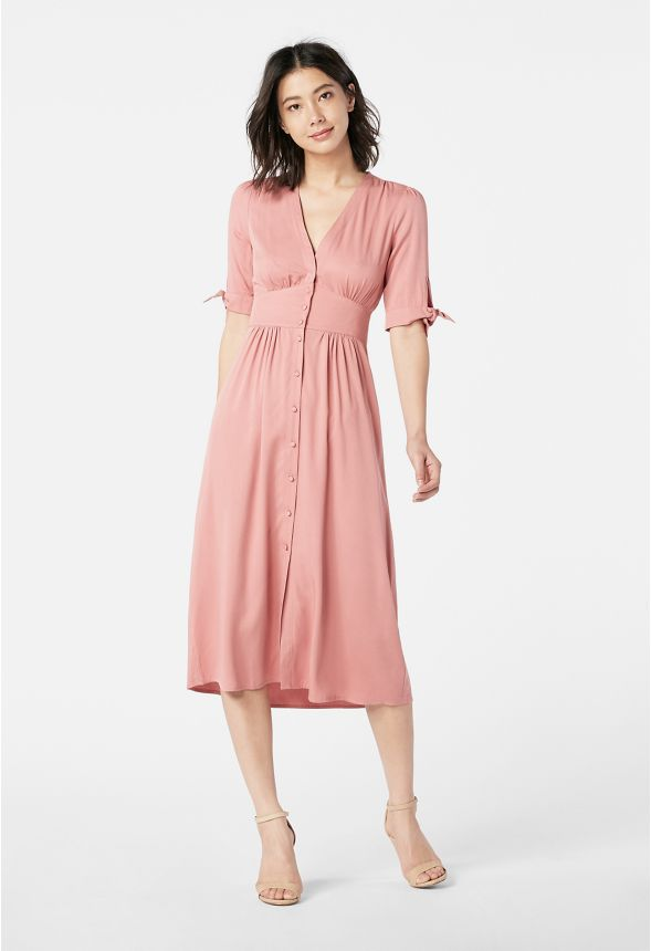 84f416892576 Tie Sleeve Midi Shirt Dress in PINK MAUVE - Get great deals at JustFab