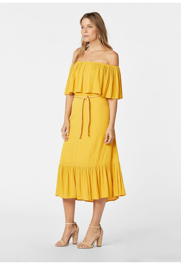 d1ece02bede1 Ruffle Off Shoulder Dress in golden yellow - Get great deals at JustFab