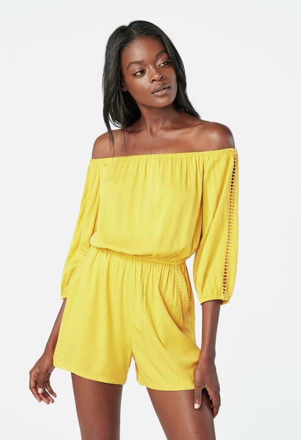 0f927cf294a4 Off Shoulder Romper in golden yellow - Get great deals at JustFab