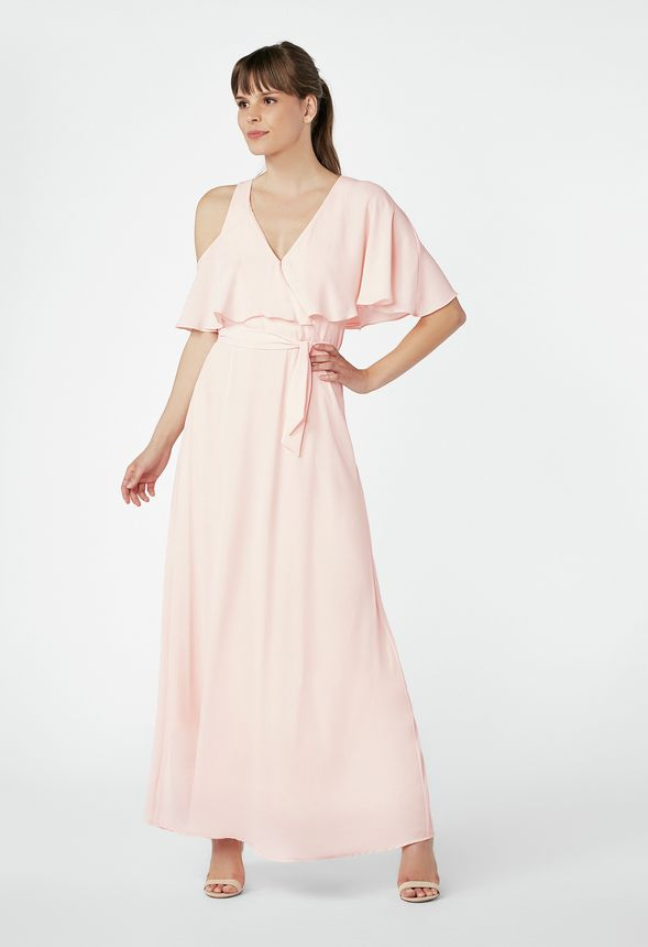 One Shoulder Cutout Maxi Dress In Pink Salt Get Great Deals At Justfab