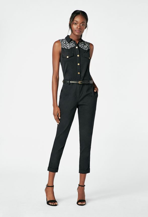 e326c5e5123 Buttoned Jumpsuit in Black - Get great deals at JustFab