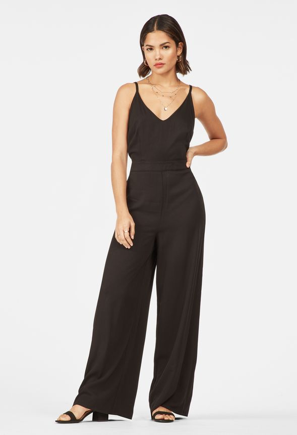 d080bfddd5d Lace Up Back Jumpsuit in Black - Get great deals at JustFab