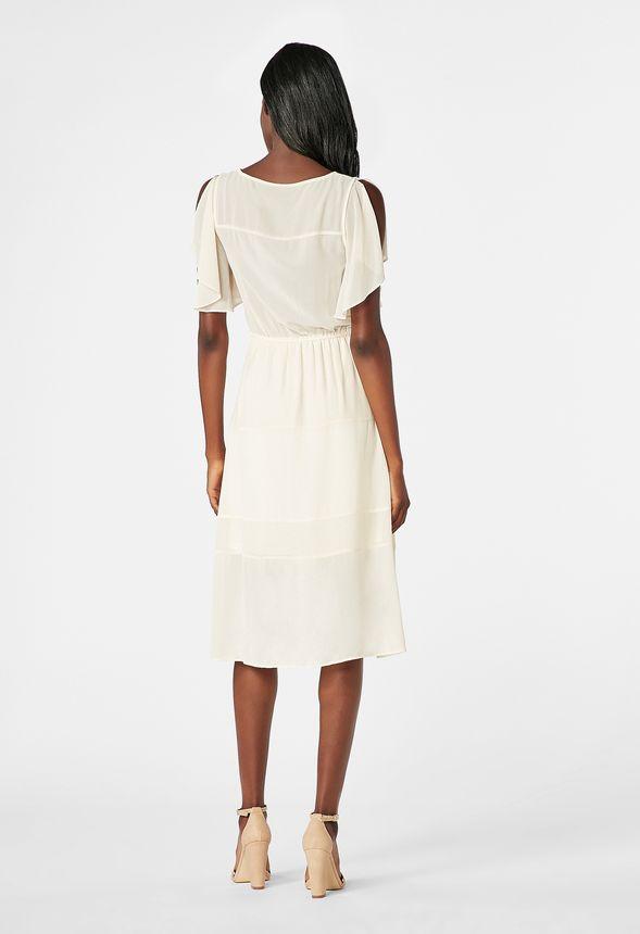 b0c8a1bf653a Metallic Panel Midi Dress in Sea Salt Multi - Get great deals at JustFab