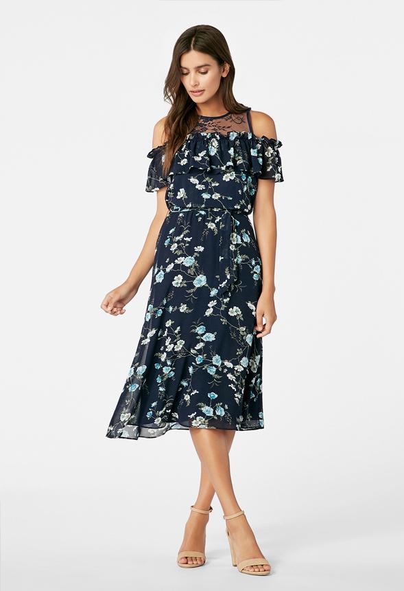 28b49c326e Cold Shoulder Midi Dress in INDIGO MULTI - Get great deals at JustFab