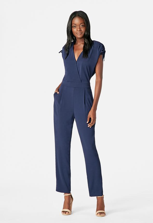 5111a845914 Short Sleeve Jumpsuit in Dark Indigo - Get great deals at JustFab