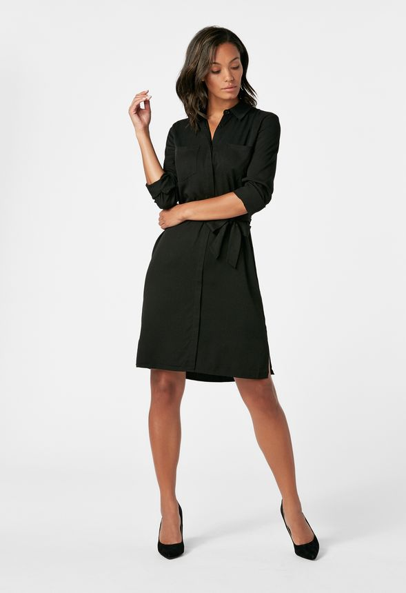 Belted Shirt Dress in Black - Get great deals at JustFab 1e203bf86