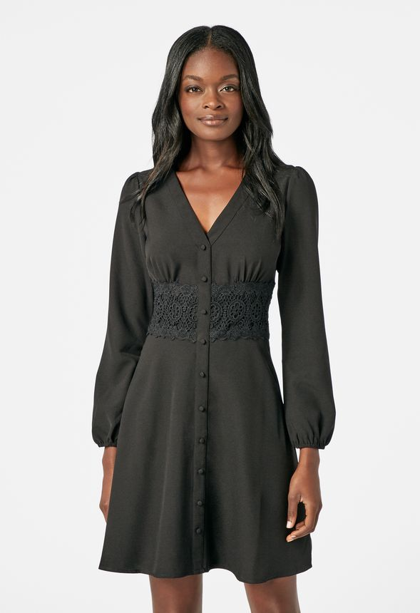 7c6db4264335d4 Button Front Shirt Dress in Black - Get great deals at JustFab
