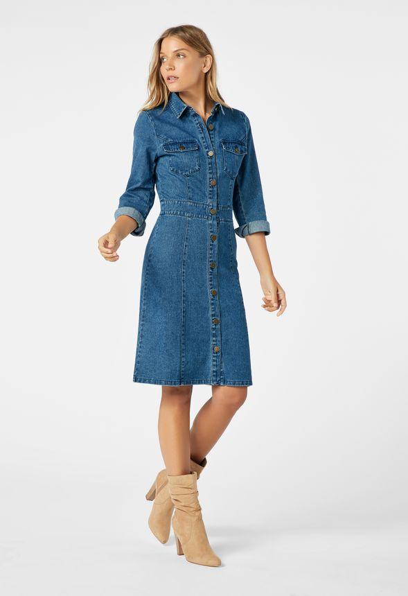 ae301603005 Button Front Denim Dress in stillwater - Get great deals at JustFab