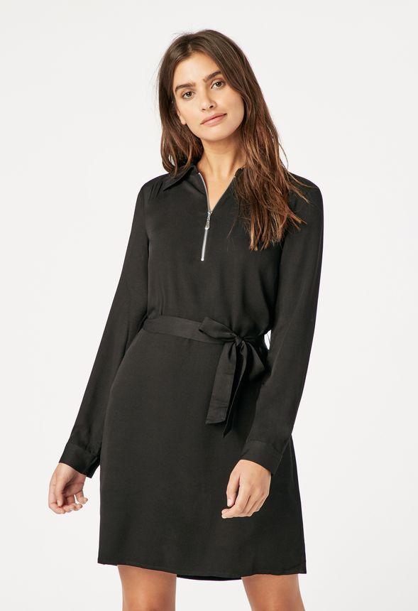 7c0a4cd65d6ff1 Zipper Shirt Dress in Black - Get great deals at JustFab