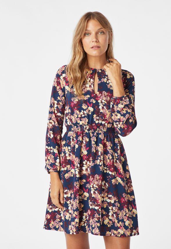 e63a9bbcc442f Smocked Sleeve Dress in dark indigo multi - Get great deals at JustFab