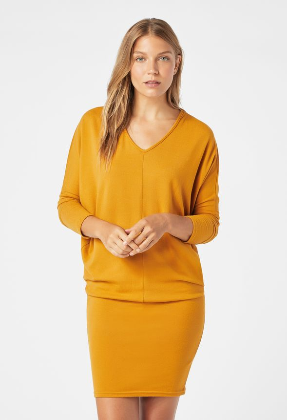 63e599c447da Dolman Sleeve V-Neck Dress in Mustard - Get great deals at JustFab