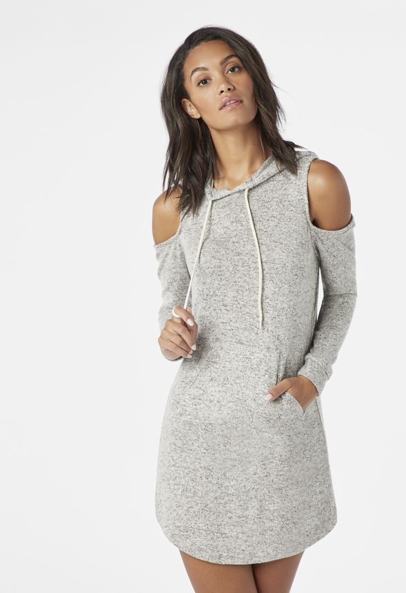 2384a51f0ec1ae Cold Shoulder Hooded Sweatshirt Dress in heather grey - Get great deals at  JustFab