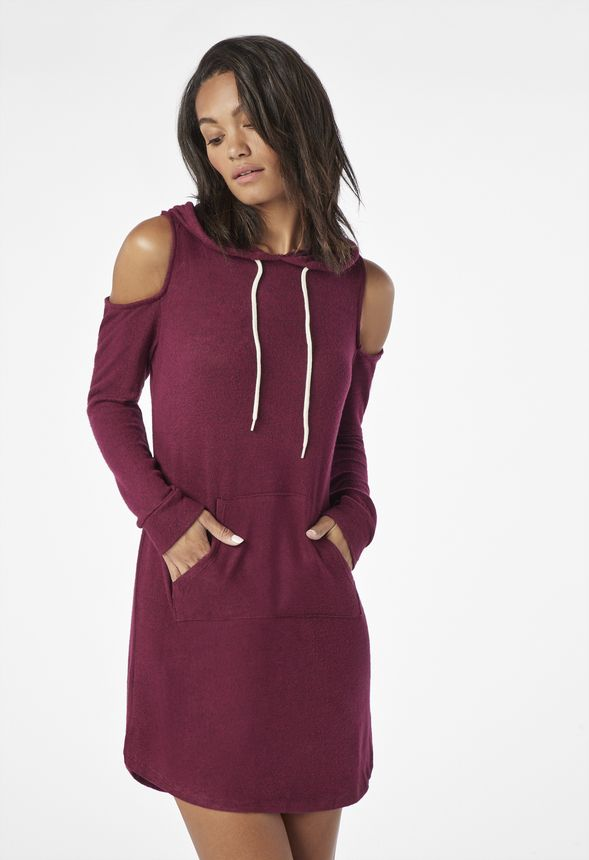 b0011e32e61830 Cold Shoulder Hooded Sweatshirt Dress in Burgundy Multi - Get great deals  at JustFab