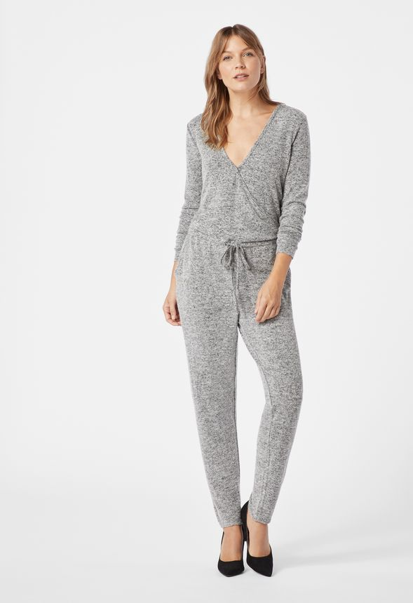 ffadf6d6f5fe54 Wrap Front Knit Jumpsuit in dark heather grey - Get great deals at JustFab