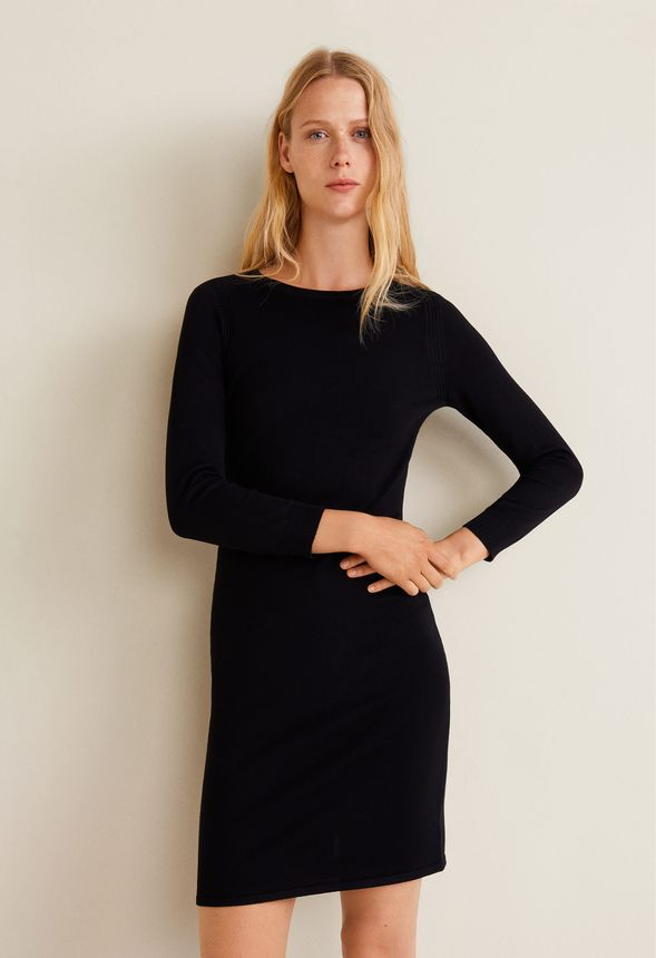 d1d5cd63a3c Fine Cable Knit Bodycon Dress in Black - Get great deals at JustFab