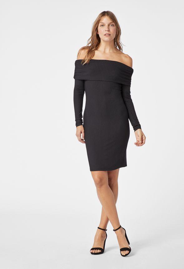 d5a2fead8e54 Ribbed Off Shoulder Dress in Black - Get great deals at JustFab