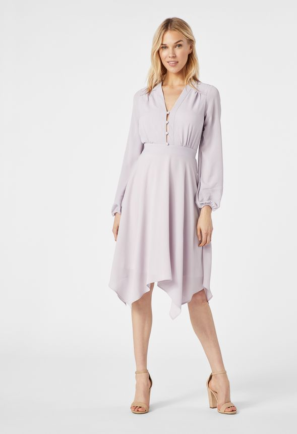 7f155378c32 Handkerchief Hem Dress in Misty Lilac - Get great deals at JustFab