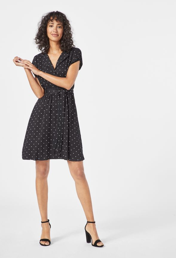 e66f61acbccd56 Belted Puff Sleeve Shirt Dress in Black Multi - Get great deals at JustFab