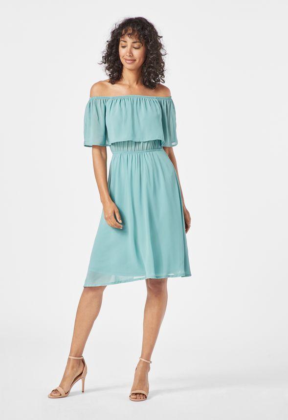 744a480aa7b33 Off Shoulder Swing Dress in trellis - Get great deals at JustFab