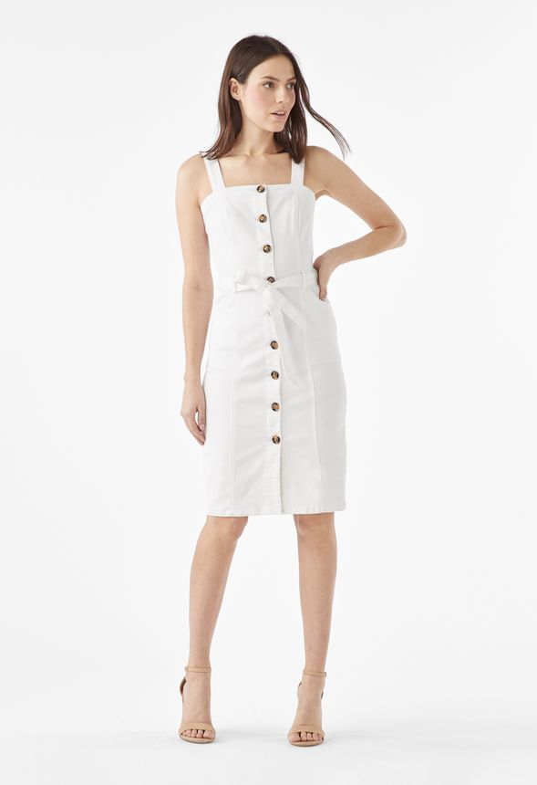 ee1973384b Pinafore Denim Dress in white wash - Get great deals at JustFab