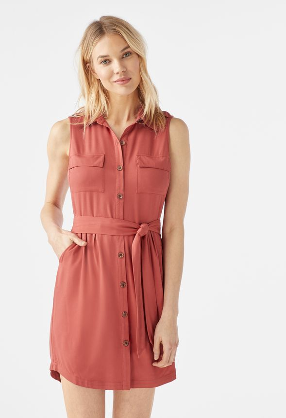 bda255f94c2a44 Sleeveless Utility Shirt Dress in tandoori spice - Get great deals at  JustFab
