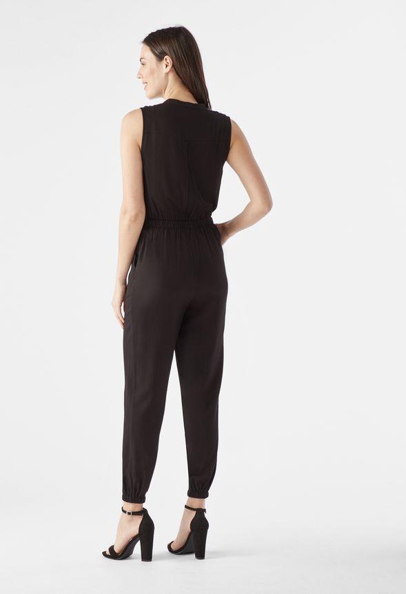 EXPRESS Large BLACK BELTED OPEN LEG PANTS JUMPSUIT sleeveless v-neck L 12-14