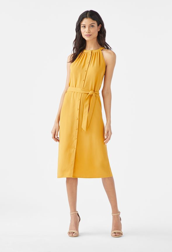 Halter Neck Button Down Dress In Nugget Gold Get Great Deals At
