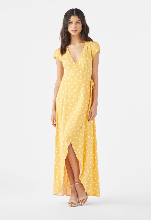 598fd76540 Wrap Short Sleeve Maxi Dress in YELLOW MULTI - Get great deals at JustFab