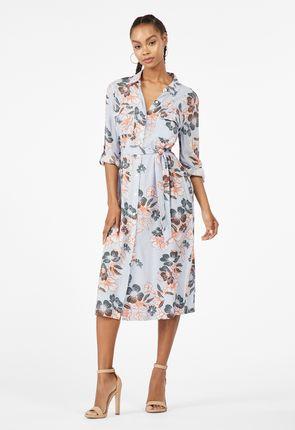 48839e25c4 Gauze Belted Midi Shirt Dress ...