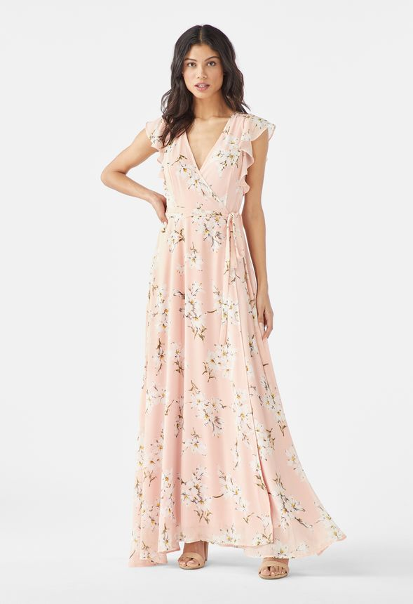 Flutter Sleeve Maxi Dress in Pink Multi - Get great deals at JustFab
