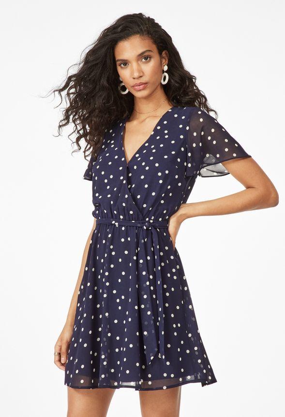 1cd0e6dfdca8 Flutter Sleeve Chiffon Dress in Dark Indigo Multi - Get great deals at  JustFab