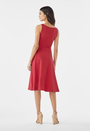 a4f25a18ede ... Square Neck Fit And Flare Knit Dress