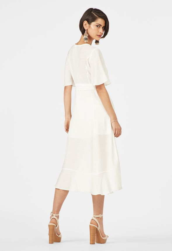 f49ff51b0257 Flutter Sleeve Midi Dress in White - Get great deals at JustFab