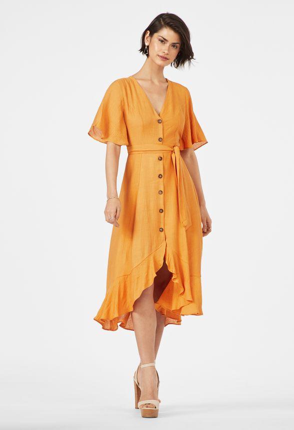 e78502a619af Flutter Sleeve Midi Dress in Marigold - Get great deals at JustFab