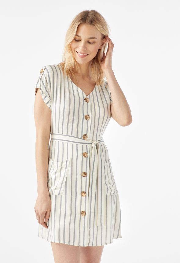 b609b55adf26 Button Front Shirt Dress in IVORY MULTI - Get great deals at JustFab