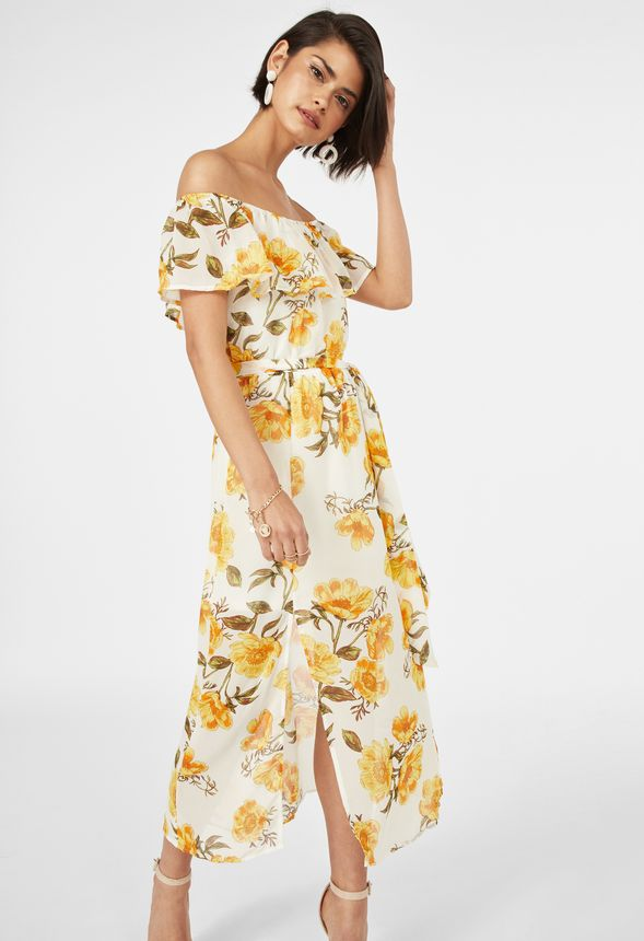 180397196086 Off Shoulder Midi Dress in WHITE MULTI - Get great deals at JustFab