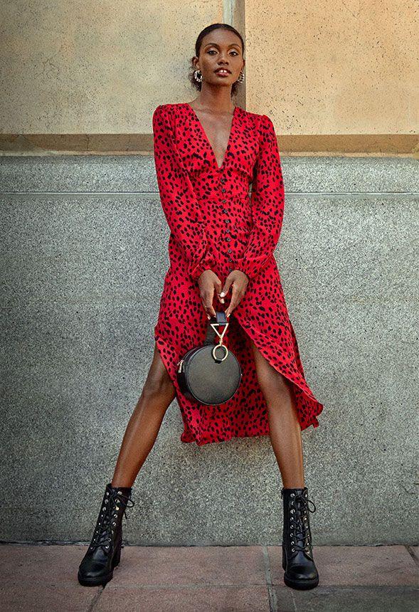 Leopard Print Midi Shirt Dress by Justfab